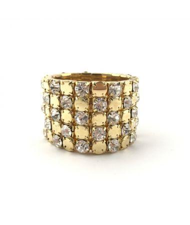 Široka zapestnica iz kristalčkov Heart of gold