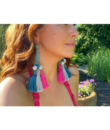 Uhani Turquoise and Pink Crystals / Turquoise and Pink Crystals Earrings