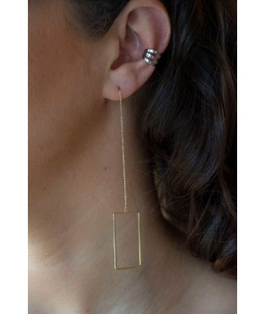 Uhani Gold Square Threader / Gold Square Threader Earrings