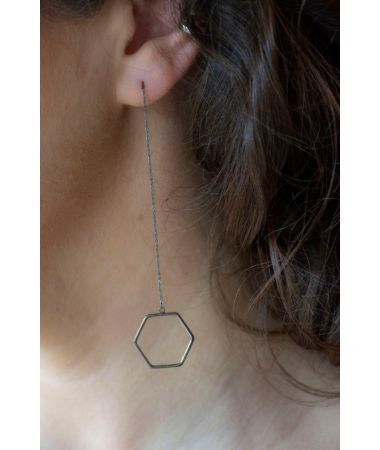 Uhani Hexagon Threader / Hexagon Threader Earrings