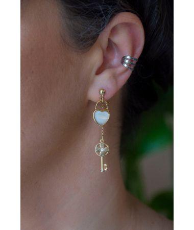 Uhani Heart and Key / Heart and Key Earrings