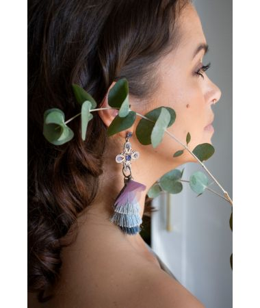 Uhani Violet Flower / Violet Flower Earrings