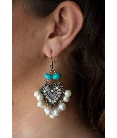 Uhani Paraiba Turqoise and Pearls / Paraiba Turquoise and Pearls Earrings