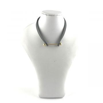 Ogrlica choker v sivi barvi
