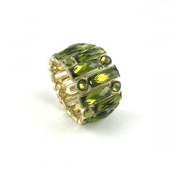 Zapestnica iz zelenih steklenih kristalov