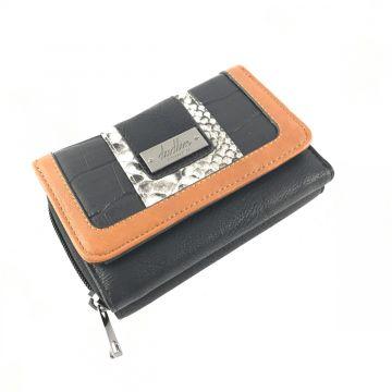 Manjša denarnica v črno rjavi kombinaciji