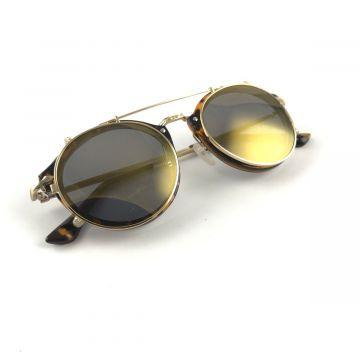 Očala v rjavi barvi z zlatimi stekli