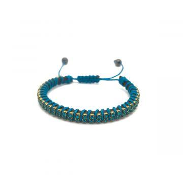 Ozka zapestnica iz kristalčkov v turkizno modri barvi
