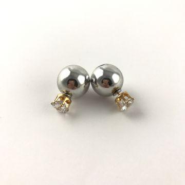 Dvostranski uhani srebrne bunkice