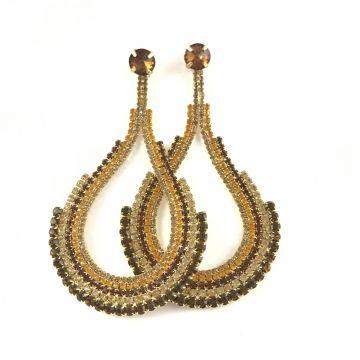 Svečani uhani iz kristalčkov v rjavo zlati barvi Elle