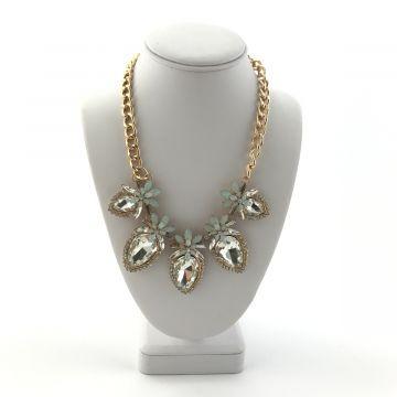 Ogrlica iz kristalov in modrih rožic