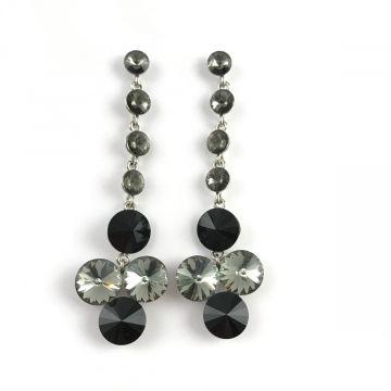 Uhani iz velikih kristalov v sivo črni barvi