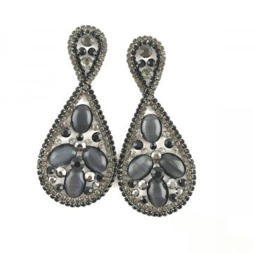 Svečani uhani iz sivo črnih kristalov