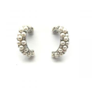 Polkrožni uhani iz perl in kristalčkov