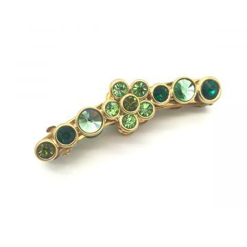 Sponka za lase iz kristalov zelene barve Adrita