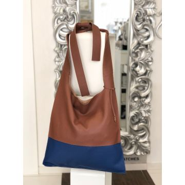 Torba Daria modra & rjava / Shoulder bag Daria blue & brown