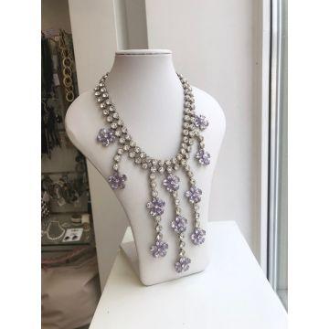 Ogrlica iz jekla in steklenih kristalov Loren
