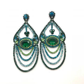 Svečani zeleno modri uhani v baročnem stilu
