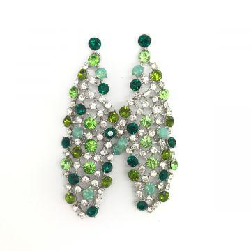 Svečani uhani v zeleni barvi