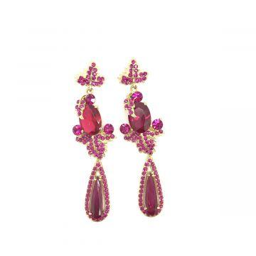 Svečani uhani iz kristalčkov v roza barvi