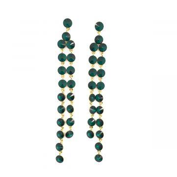 Svečani uhani iz kristalov v temno zeleni barvi