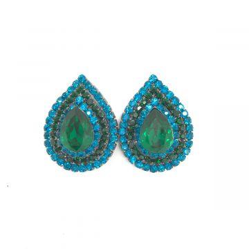 Uhani solze iz zeleno modrih kristalov