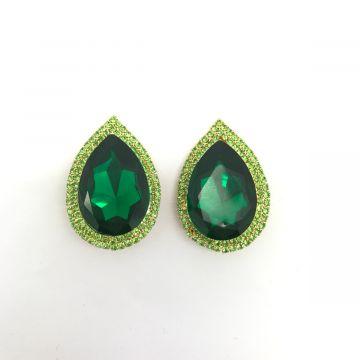 Uhani zelene solze iz kristalov