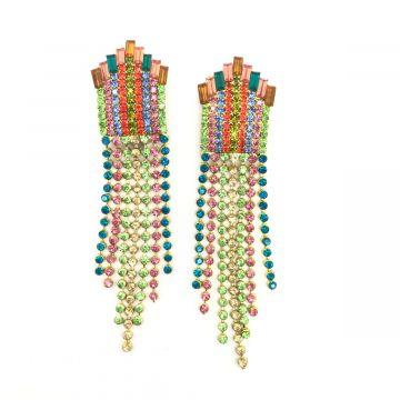 Svečani viseči uhani iz barvastih kristalčkov