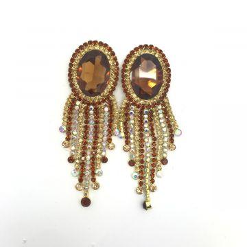 Svečani uhani iz stekla v rjavi barvi Abion