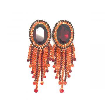 Svečani uhani iz stekla v rdeče oranžni barvi