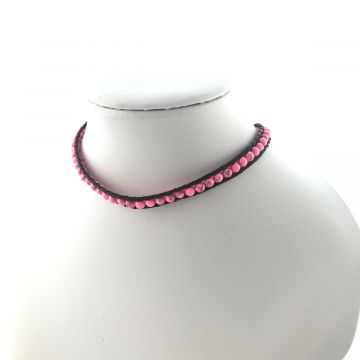 Ogrlica choker ali zapestnica za navijanje Pinky