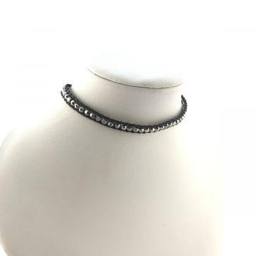 Ogrlica choker ali zapestnica za navijanje iz steklenih srebrnih kristalčkov