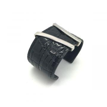 Zapestnica iz usnja v črni barvi