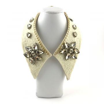 Ogrlica ovratnik z zlatimi kristali