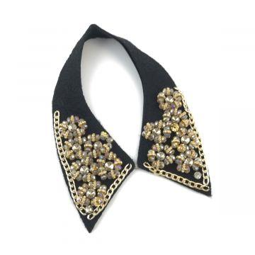 Ogrlica ovratnik v črno zlati barvi
