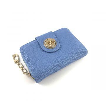 Manjša modra denarnica v videzu usnja