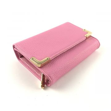 Manjša roza denarnica v videzu usnja