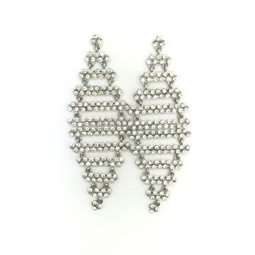 Svečani viseči uhani iz belih kristalčkov