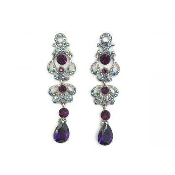 Svečani uhani iz vijoličnih kristalčkov