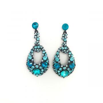 Svečani uhani iz kristalčkov modre barve