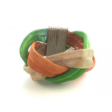 Trobarvna pletena kovinska zapestnica