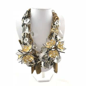 Unikatna ogrlica Gold Flowers