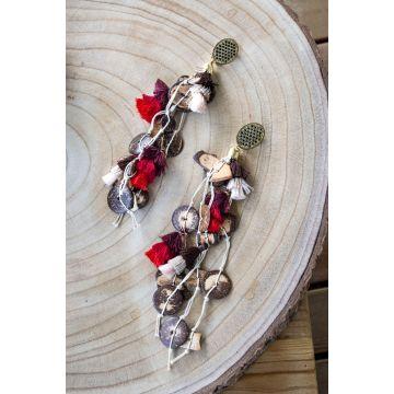 Uhani Wood & Silk / Wood & Silk Earrings