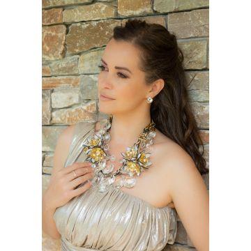 Ogrlica Transparent Crystal Flowers / Transparent Crystal Flowers Necklace
