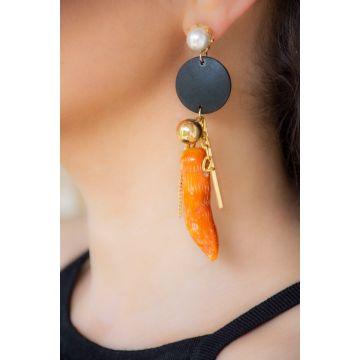 Uhani Circle Coral and Pearl / Circle Coral and Pearl Earrings