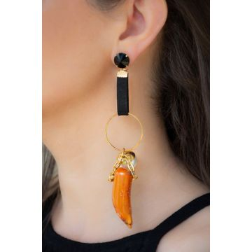 Uhani Long Circle Pearl and Coral / Long Circle Pearl and Coral Earrings