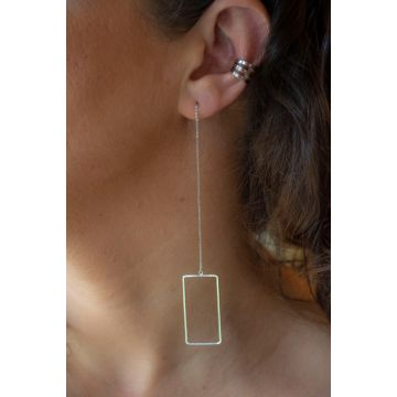 Uhani Silver Square Threader / Silver Square Threader Earrings