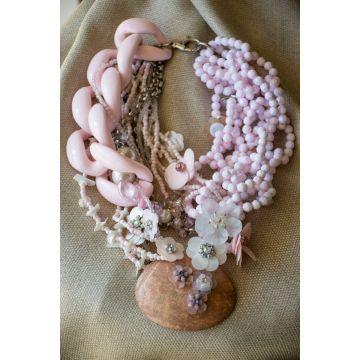 Ogrlica Coconut Slice and Diamond Flower / Coconut Slice and Diamond Flower Necklace