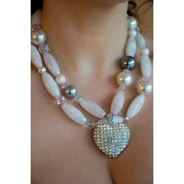 Ogrlica Heart of Rose Stone / Heart of Rose Stone Necklace