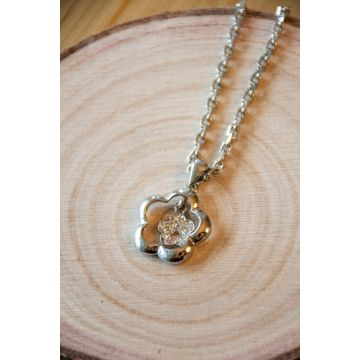 Ogrlica Silver Crystal Rose / Silver Crystal Rose Necklace